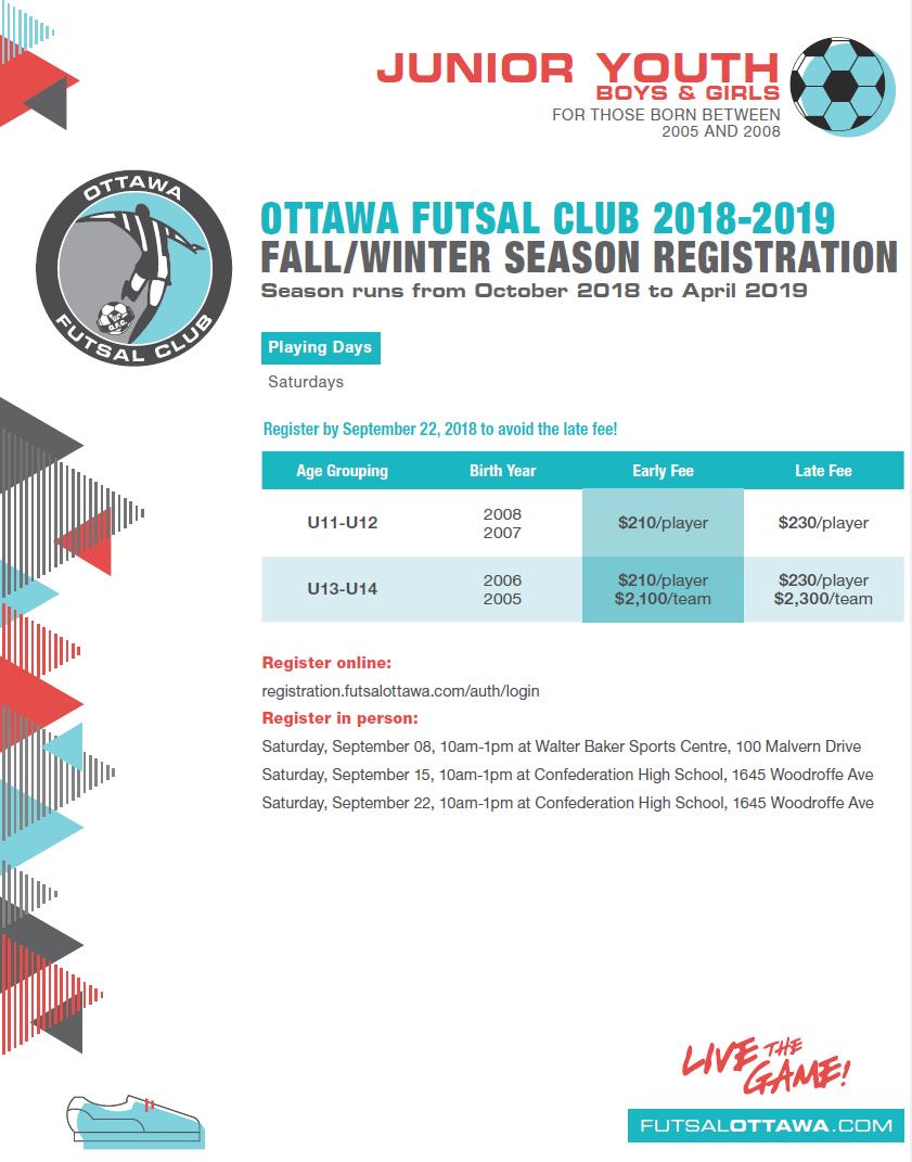 Ottawa Futsal Club » Junior Youth (U11-U14) 2018-2019